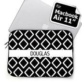Schwarze personalisierte ikat MacBook Air 11 Tasche