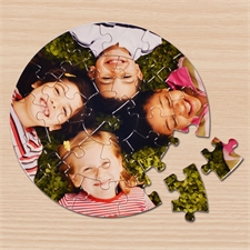 Rundes Fotopuzzle mit Foto und Text zum Selbstgestalten