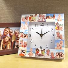 Weiße Uhr Kollage Großes Zifferblatt Modern Schwarze Ziffern und Zeige