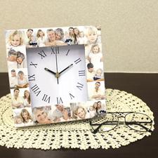 Weiße Uhr Kollage Römische Ziffern Großes Zifferblatt