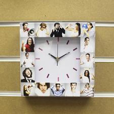 Weiße Uhr Fotokollage Basic Bunt Großes Zifferblatt