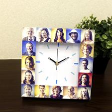 Weiße Uhr Fotokollage Basic Großes Zifferblatt Himmelblaue Ziffern