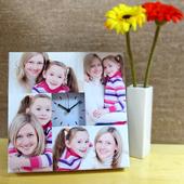 Weiße Fotokollageuhr Kleines Zifferblatt Basic Bunt