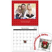 Schwarz Weiß Rot Wandkalender 30,5 cm x 30,5 cm