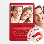 Hochzeitseinladung Rot Fotomagnet Hochformat 10,16 x 15,24 cm