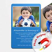 Einladung Geburtstag Blau Magnet mit Foto Hochformat