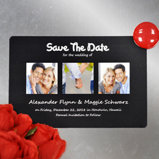 Save the Date drei Fotos Magnet Schwarz 10,16 x 15,24 cm