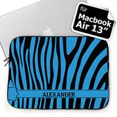 Blaues Zebra Schwarz und Blau Personalisierte  MacBook Air 13 Tasche