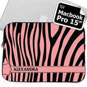 Pink Zebra Schwarz und Pink Personalisierte MacBook Pro 15 Tasche (2015)