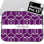 Personalisierte Lila Spaliermuster MacBook Pro 15 Tasche (2015)