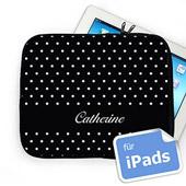 Schwarz gepunktete iPadtasche