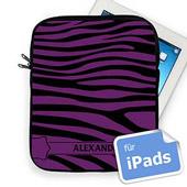 Purple  Zebra Schwarz und Lila Initialisierte iPad Tasche