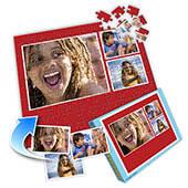 Individuelles Drei-Fotos-Collage-Puzzle in Rot - Sommer-Erinnerungen