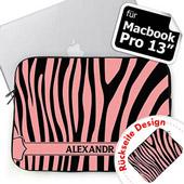 Zebra Beidseitig personalisierte Schwarz und Pink MacBook Pro 13 Tasche (2015)