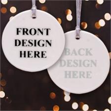Runder Weihnachtsschmuck Vorder- und Rückseite Porzellan Personalisieren