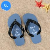 Personalisierte Strandsandalen Kinder Größe KS 25-28 EIN BILD Schwarz