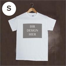 Größe S, T-Shirt, Weiß, Querformat, Personalisiert 100% Baumwolle