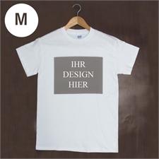 Größe M, T-Shirt, Weiß, Querformat, Personalisiert 100% Baumwolle