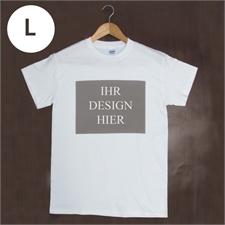 Größe L, T-Shirt, Weiß, Querformat, Personalisiert 100% Baumwolle