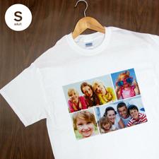 Größe S T-Shirt Weiß 4er Collage Querformat Personalisierte Baumwolle