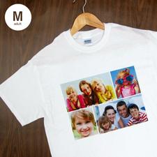 Größe M T-Shirt Weiß 4er Collage, Querformat, Personalisierte Baumwolle