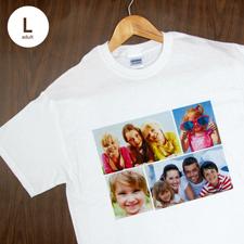 Größe L T-Shirt Weiß 4er Collage, Querformat, Personalisierte Baumwolle