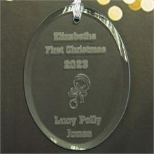 Babys Graviertes Glas Oval Weihnachtsschmuck