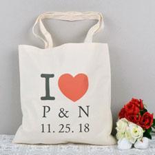 Personalisierte Herz Budget Stofftasche