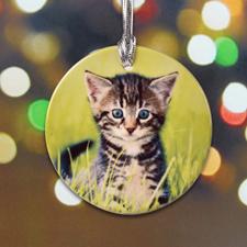 Katzenfoto als Erinnerung Anhänger Kermik Rund
