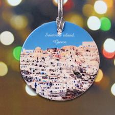 Urlaubsfotos Weihnachten auf Keramikanhänger Rund