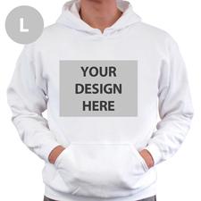 Hoodie ohne Reißverschluss Vollbild personalisiert Weiß Größe L
