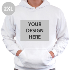 Hoodie ohne Reißverschluss Vollbild personalisiert Weiß Größe XXL