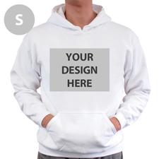 Hoodie ohne Reißverschluss Vollbild personalisiert Weiß Größe S