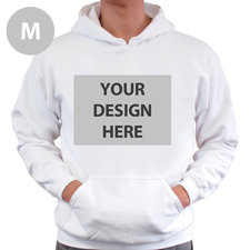 Hoodie ohne Reißverschluss Vollbild personalisiert Weiß Größe M
