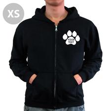 Pfote Personalisierter Hoodie Schwarz XS mit Reißverschluss