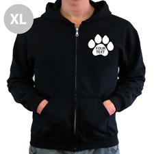 Pfote Personalisierter Hoody Schwarz XL mit Reißverschluss