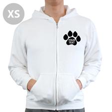 Pfote Personalisierter Hoodie Weiß XS mit Reißverschluss