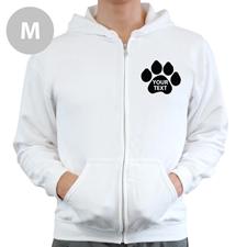 Pfote Personalisiert Gedruckt Hoody Weiß mit Reißverschluss Größe M