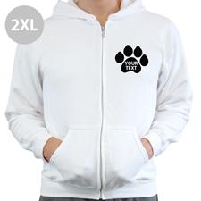 Pfote Personalisierter Hoodie Weiß XXL mit Reißverschluss
