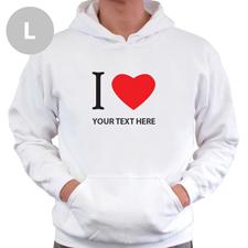 Hoodie I LOVE YOU Baumwolle mit Herz Weiß Größe L Personalisiert