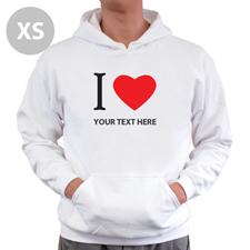 Hoodie I LOVE YOU Baumwolle mit Herz Weiß XS Personalisiert