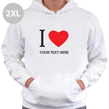 Hoodie I LOVE YOU Baumwolle mit Herz Weiß  2 XL