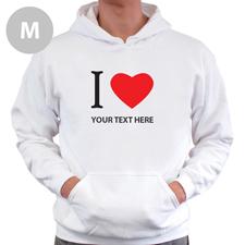Hoodie I LOVE YOU Baumwolle mit Herz Weiß Größe M Personalisiert