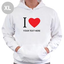 Hoodie I LOVE YOU Baumwolle mit Herz Weiß XL Personalisiert