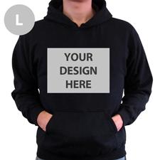 Hoodie ohne Reißverschluss personalisiert Schwarz Größe L