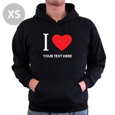 Hoodie I LOVE YOU Baumwolle mit Herz Schwarz XS Personalisiert