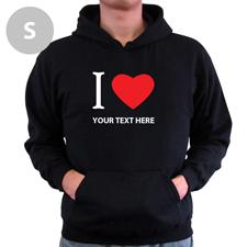 Hoodie I LOVE YOU Baumwolle mit Herz Schwarz Größe S Personalisiert