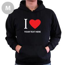 Hoodie I LOVE YOU Baumwolle mit Herz Schwarz Größe M Personalisiert