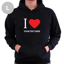 Hoodie I LOVE YOU Baumwolle mit Herz Schwarz Größe L Personalisiert