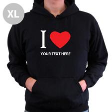 Hoodie I LOVE YOU Baumwolle mit Herz Schwarz XL Personalisiert